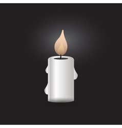 One silver isolated candle at night eps10 vector