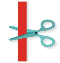 Flat design icon scissors cutting red vertical vector