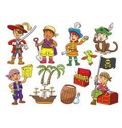 Pirate child cartoon vector