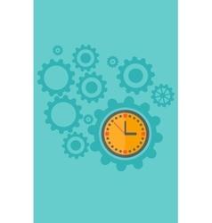 Background of cogwheels and clock mechanism vector