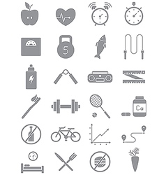 Gray healthy lifestyle icons set vector