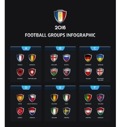 France 2016 football icons flags of the countries vector