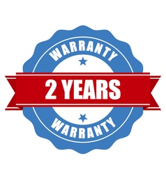 Two years warranty seal - round stamp vector