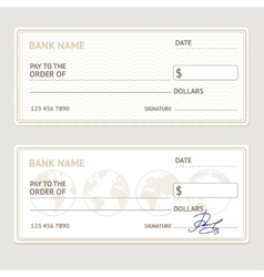 Bank check template set vector
