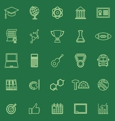 College line color icons on green background vector