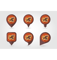 Cow flat mapping pin icon with long shadow vector