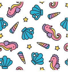 Cute rainbow pastel seahorse sea seamless pattern vector