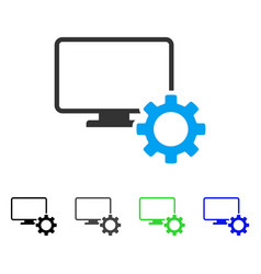 Desktop options gear flat icon vector