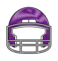 drawing purple american footbal helmet equipment vector image