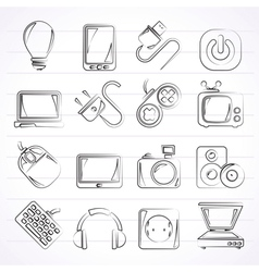 Electronic Devices objects icons vector image vector image