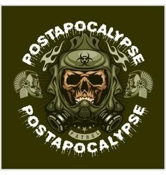 Industrialpost-apocalypse coat of arms with skull vector