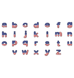 Letters of the alphabet with the american flag vector