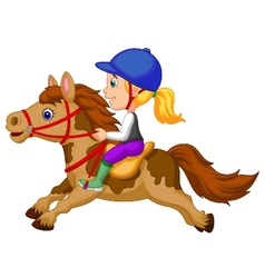 Little girl cartoon riding a pony horse vector image