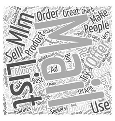 Mlm mailing list word cloud concept vector