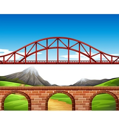 Nature scene with bridge and wall vector image vector image