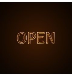 Open neon sign vector