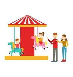 Parents watching kid riding on merry-go-round vector