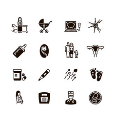 Pregnant mom and baby icons woman vector