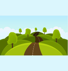 road on hills among trees and meadows vector image