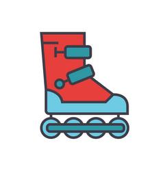 roller skates flat line concept vector image