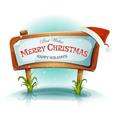 Santa claus hat on christmas wood sign vector