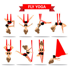 set of fly yoga positions design vector image
