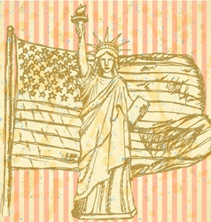 Sketch USA flag and Statue of Liberty vector image