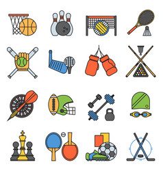 sport icons seamless pattern background in flat vector image vector image
