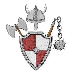 viking armor set - helmet shield flail and axe vector image