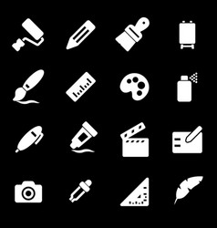 white art tools icons set vector image