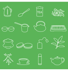 White tea outline icons on green background eps10 vector