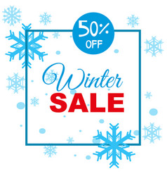 Winter sale background template with snowflakes vector