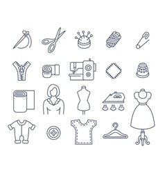 Sewing tools flat thin line icons vector