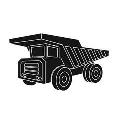 yellow dump truck with black wheelsthe vehicle vector image
