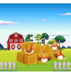 Four chickens in the hay with a barn at the back vector