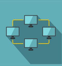 exchange of data between computers icon flat style vector image