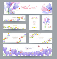 Fashion collection of greeting cards with crocus vector