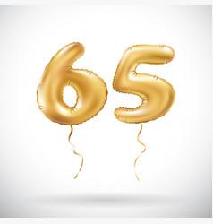 golden number 65 sixty five metallic balloon vector image