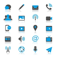 Media and communication flat with reflection icons vector