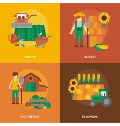 Farmer land flat icons composition vector