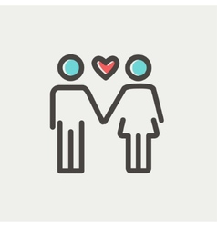 Loving couple thin line icon vector