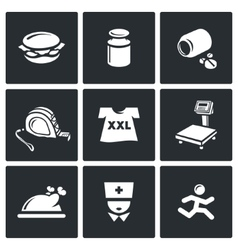 Fighting obesity organism icons set vector