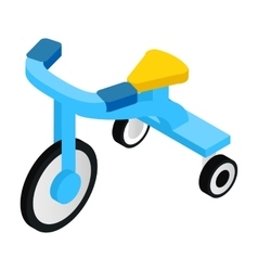Blue tricycles isometric 3d icon vector image