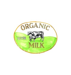 Cow organic milk label drawing vector