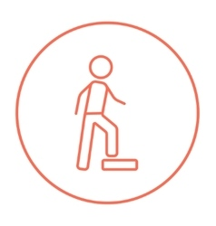 Man doing step exercise line icon vector