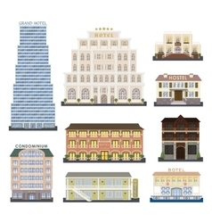 Hotel buildings vector