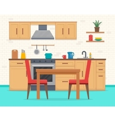 Kitchen with furniture set vector