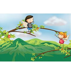 A girl and a boy at a branch of a tree vector image