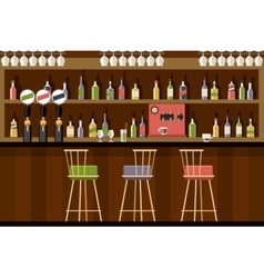Bar interior in flat style design vector image vector image