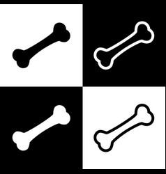 Bone sign black and white vector
